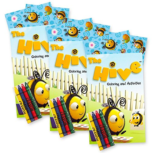The Hive Bumble Bee Coloring and Stickers Party Favors Pack -- Over 60 Stickers, 3 Toddler Coloring Books, 12 Crayons (Party Supplies) ()