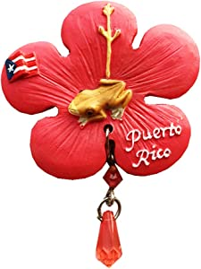 Commonwealth of Puerto Rico USA Phoenix Flower Frog Flag 3D Refrigerator Magnet Souvenir Gift Collection Home and Kitchen Decoration Magnetic Sticker Fridge Magnet