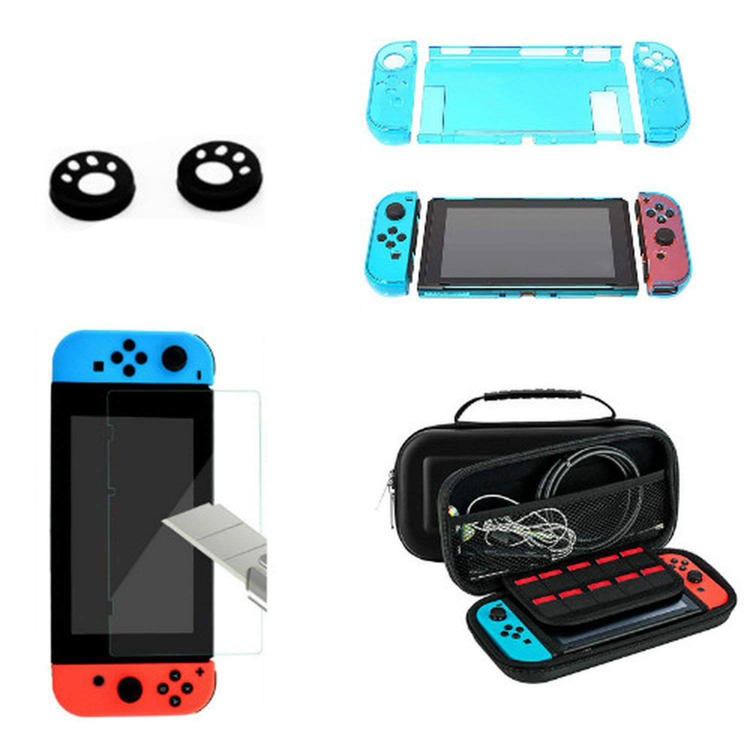 Detachable Crystal PC Transparent Case for Nintendo Nintendo Switch Accessories NS NX Cases Hard Clear Back Cover Shell Bag,Kit 2