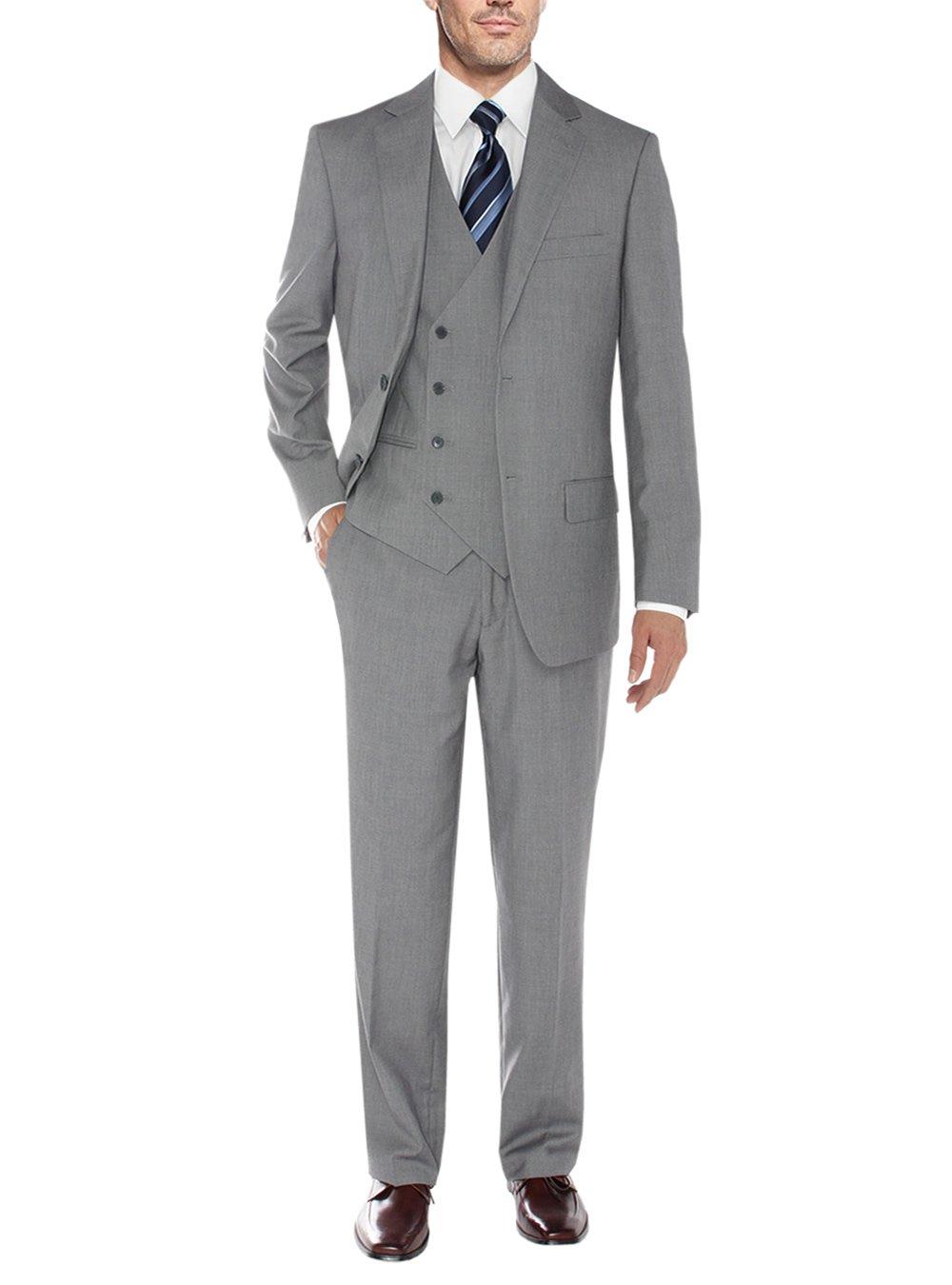 Salvatore Exte Men's Vested Suit Three-Piece 2 Button Jacket Flat Front Pants (42 Regular US / 52R EU / W 36'', Gray)