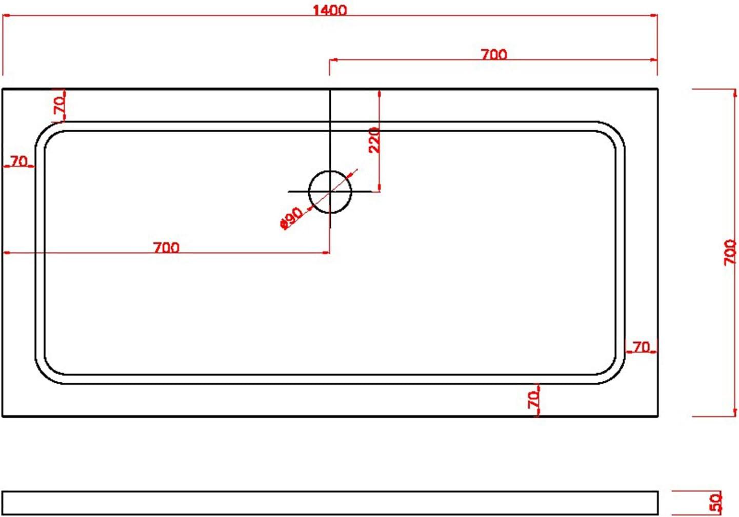 Grg Bac /à Douche 70x90x5 CM Rectangulaire Abs Mod Selene