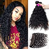 RECOOL Wet and Wavy Human Hair with Closure Ear to Ear Brazilian Hair Water Wave Bundles and Frontal Closure for Sale Natural Color (16 18 20+14)