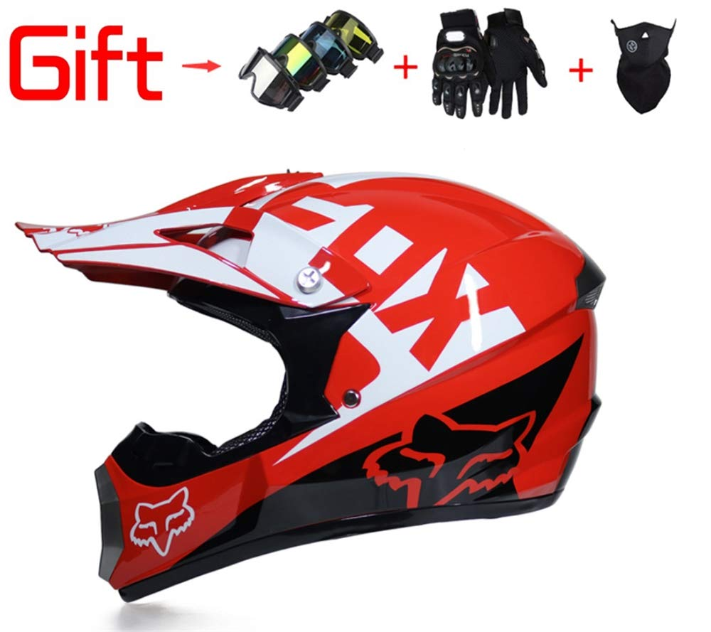 Adult Men and Women Off-Road Vehicle Helmets Downhill DH Racing Motorcycles AM Bicycle Full Face Helmets Mx Helmets (Send Masks, Goggles, Gloves) DOT Certification YUEYEG