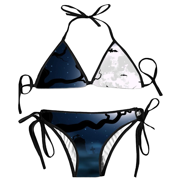 b4b5517bfe34b Amazon.com  for Halloween Bralette Halter Bikini Swimsuit Tankinis Strappy  top for Women  Clothing