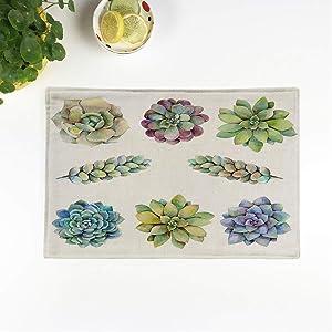 rouihot Set of 4 Placemats Purple Cactus Watercolor Succulents Raster Blue Flower Plant Watercolour Non-Slip Doily Place Mat for Dining Kitchen Table
