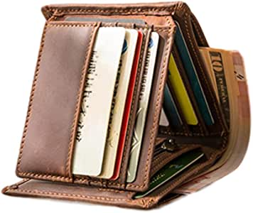 Wallets for Men Slim Genuine Leather Tri-fold Flip Pocket Wallet Cash Passport Card Coins Cases & Money Organizers, Top Layer Leather (Brown)