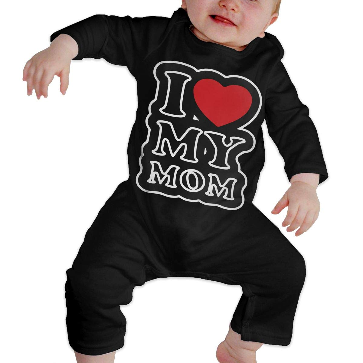 I Love Mom Toddler Baby Long Sleeve Romper Jumpsuit Bodysuits