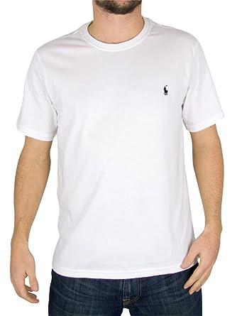 Polo Ralph Lauren - Blanc Logo Crew Neck T-Shirt - Homme - Taille ... d505b45efaf0