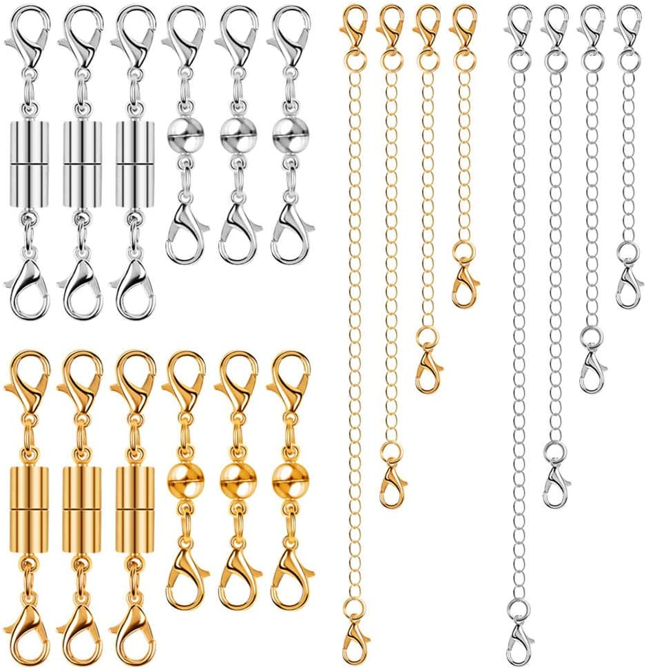Bracelets and Jewelry Making Magnetic Clasps for Necklaces and Bracelets Anezus 26pcs Bracelet Extender Set Including 18pcs Magnetic Jewelry Clasps and 8pcs Necklace Extenders for Necklaces Silver