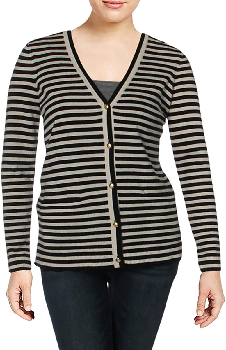 LAUREN RALPH LAUREN Anneka Women's Cashmere Striped Button Down Cardigan Sweater