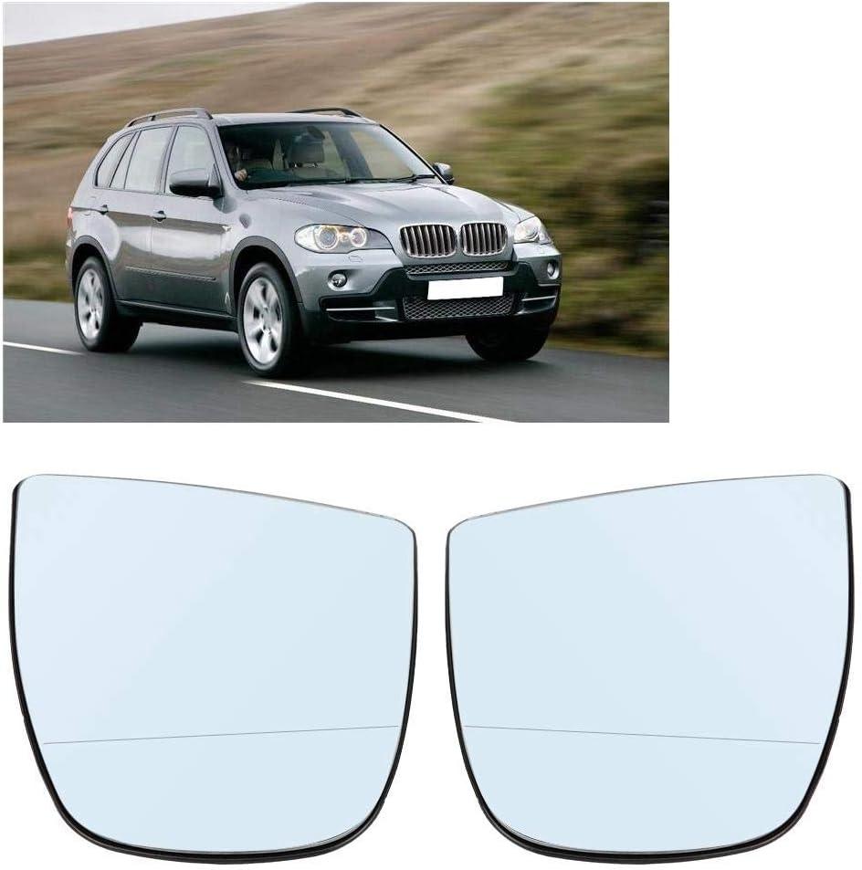 R/étroviseur Couleur : Blanc 1 paire de vitres de r/étroviseurs lat/éraux chauffants gauche et droite pour BMW X5 E70 2008-2013.