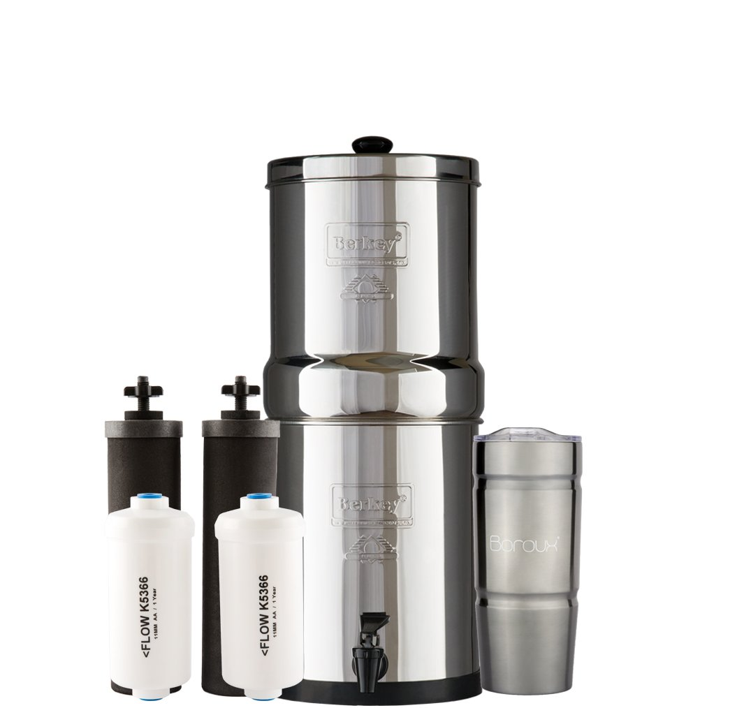 TRAVEL Berkey Water Filter System with 2 Black Purifier Filters (1.5 Gallons) Bundled with 1 Set of (2) Fluoride (PF2) Filters and 1 Boroux Double Walled 20 oz Stainless Steel Tumbler Cup