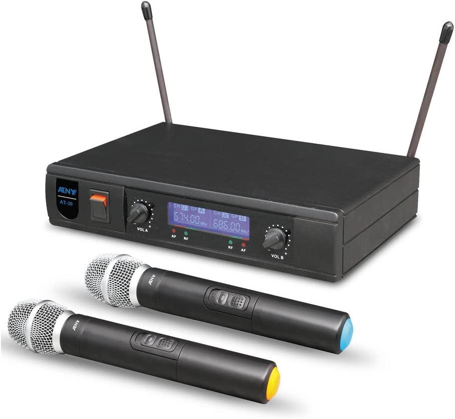 ATNY AT-30 HT UHF Dual Receiver Handheld Wireless Microphone System for Outdoor Wedding, Conference, Home KTV, Evening Party, Speech