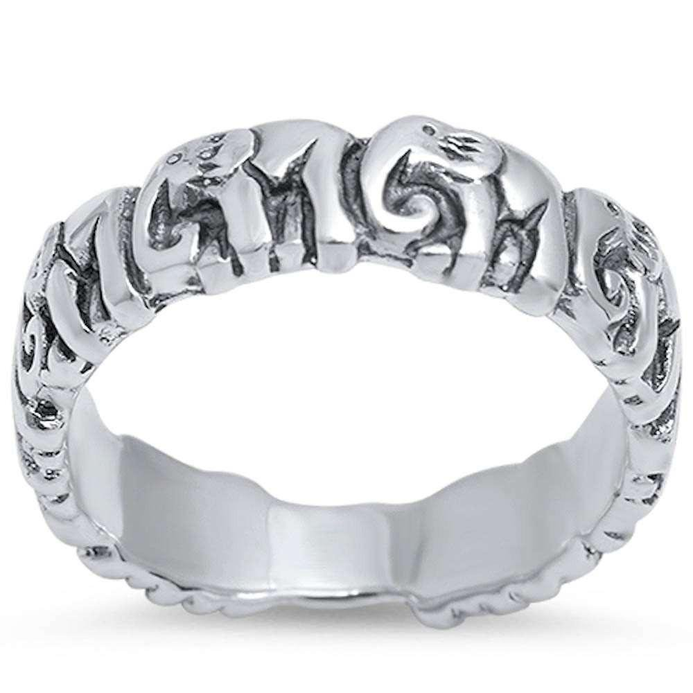Princess Kylie 925 Sterling Silver Plain Linked Elephant Eternity Band Ring