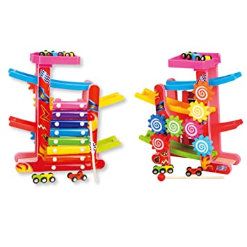 6d8630d368b7 Studyset 3 in 1 Kids Slot Track Car Toys Ladder Gliding Wooden Slot Track Educational  Toy  Amazon.co.uk  Toys   Games