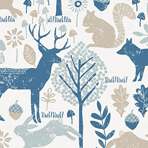 Carousel Designs Taupe and Denim Woodland Animals Fabric by The Yard - Organic 100% ()