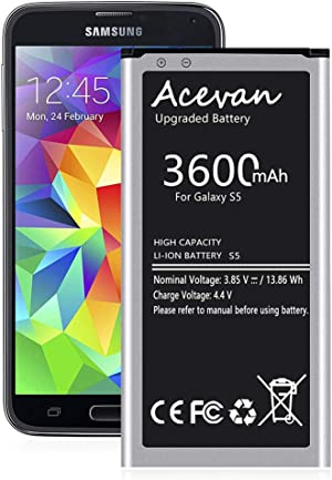 Galaxy S5 Battery 3600mAh Acevan Upgrade Replacement Battery for Samsung Galaxy S5 G900V Verizon G900P Sprint G900T T-Mobile G900A AT&T G900F G900H G900R4 G900W8 S5 Batteries