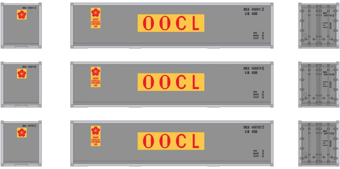 HO RTR 40' Smooth Containers OOCL (3)