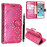 Apple ipod touch 4 4th Gen. Case, Kamal Star® Premium PU Leather Magnetic Case Cover with ATM card and Note slots + Free Stylus (Rose Pink Diamond Book)