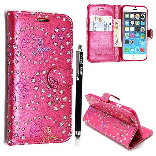 Kamal Star® Apple iPhone 6Plus/6S Plus (5,5) Rose Pink Diamond Book PU Leder Magnetisch Case Cover + Stylus
