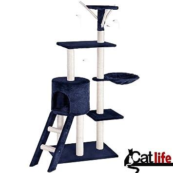 BAKAJI Rascador para Gatos Árbol para Gatos Sisal Parque Juegos Juegos X Gato Tira arañazos para Gatos Color Azul Oscuro Altura 144 cm: Amazon.es: Hogar