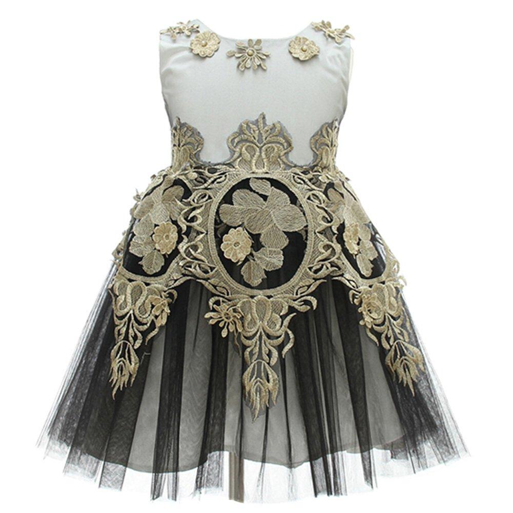 AHAHA 2017 New Style Black Gold Girls Dresses Girls Princess Wedding Party Dress