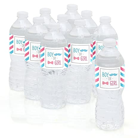 Chevron Gender Reveal   Baby Shower Party Water Bottle Sticker Labels  Set  Of 10