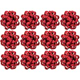 The Gift Wrap Company 12 Count Decorative Matte Bows, Medium, Red