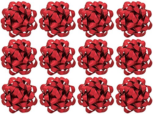 y 12 Count Decorative Metallic Confetti Bows, Large, Red (Red Bows)