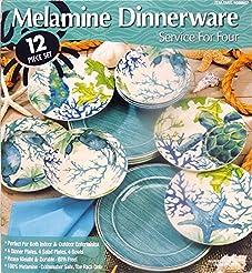 Melamine Dinnerware 12 Piece Set - Aquamarine #1069807  sc 1 st  Amazon.com & Amazon.com: Melamine - Dinnerware Sets / Dining u0026 Entertaining: Home ...