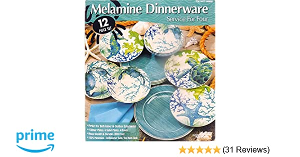 amazon com melamine dinnerware 12 piece set aquamarine 1069807 dinnerware sets