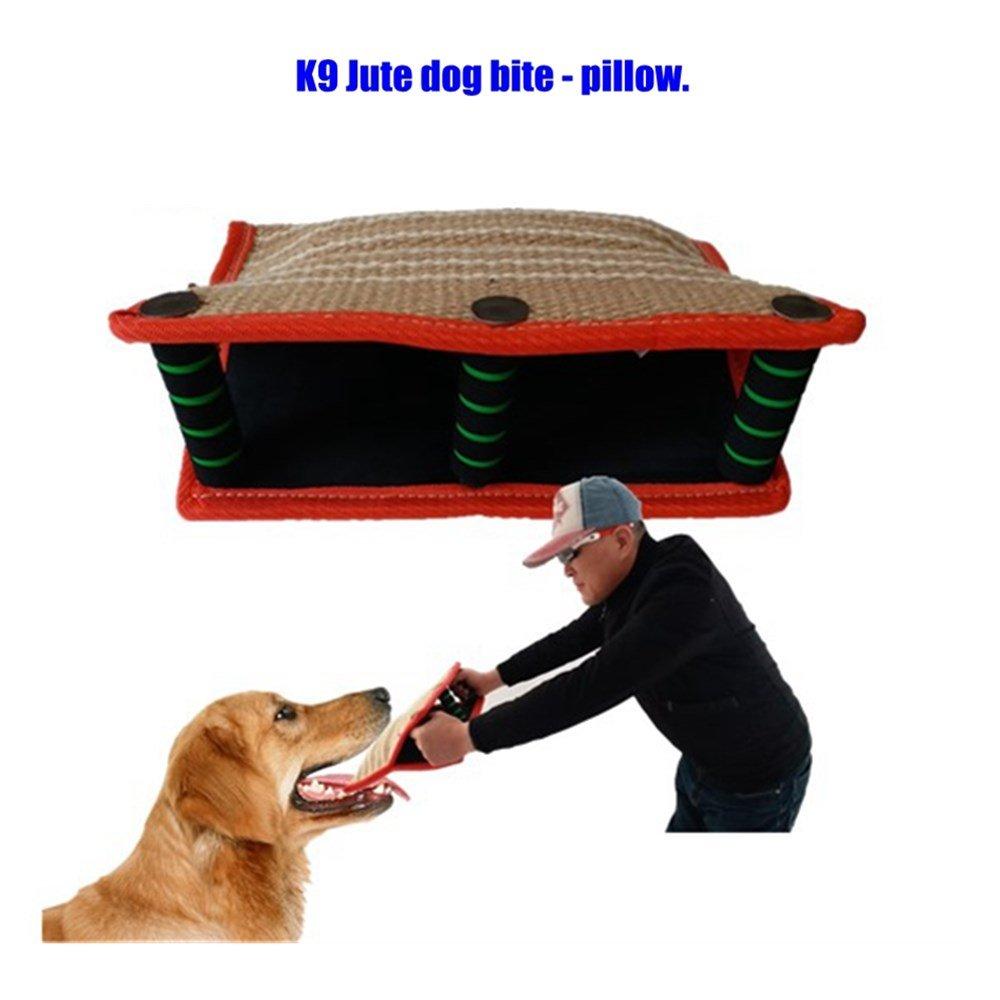 Luyang New K9 Jute Cloth Training Dog bite Pillow, pet Toy, 3- Soft & Metal Handle Dog bite Pillow, Working Dog Belgian Malin Collie Dog bite Pillow.