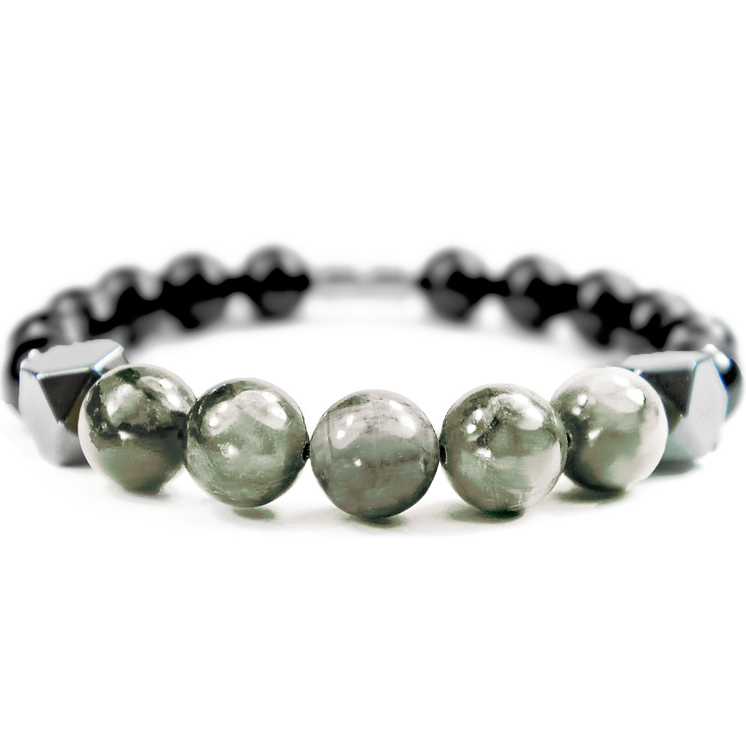 ONE ION Keeper's Eagle Eye Bracelet - Hematite Black Tourmaline Magnetic Clasp - 3 Sizes (7 Inches (6.5''-7.25'')) by ONE ION