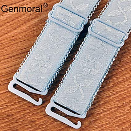 , 1.8CM Width Genmoral 6 Pair // 9 Pair Adjustable Bra Strap Replacement Embroidery Shoulder Belt Bra Accessories Width 1.5cm or 1.8cm 6 Pair White+Beige