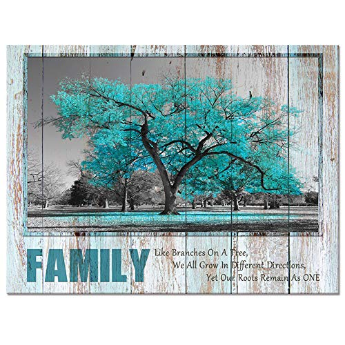 Visual Art Decor Sweet Home Rustic Teal Family Tree Quote Canvas Prints Poster Framed and Stretched Green Picture Love Rules Home Living Room Dining Room Decoration (24