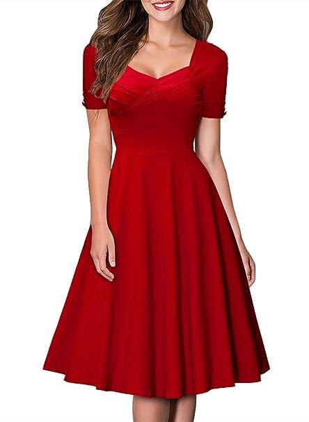 Miusol Vestido - para mujer rojo rosso Small