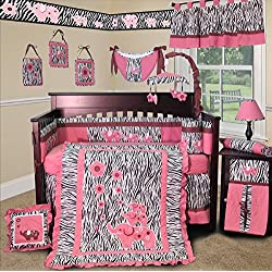SISI Baby Girl Boutique - Pink Zebra 15 PCS Crib Bedding Pink and White