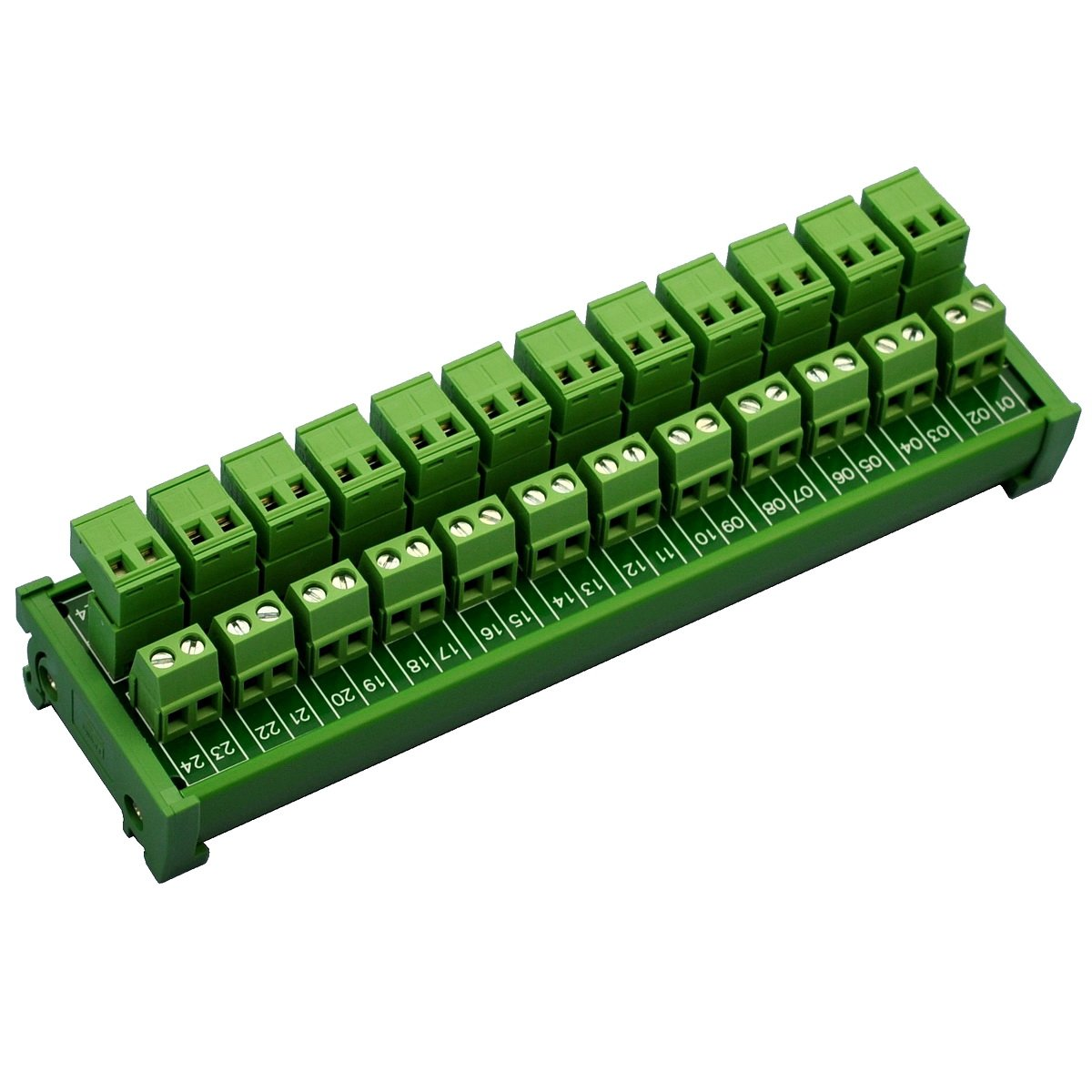 Electronics-Salon DIN Rail Mount Pluggable 12x2 Position 10A/300V Screw Terminal Block Distribution Module. (Top Wire Connects)
