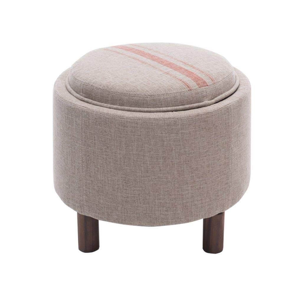 Solid Wood Storage Coffee Table Stool, Multi-Function Small Table Round Stool, Shoe Stool, Storage Footstool, Linen Fabric Seat Cushion, Makeup Stool American Bed End Stool 49x49x42cm by CS-JZ
