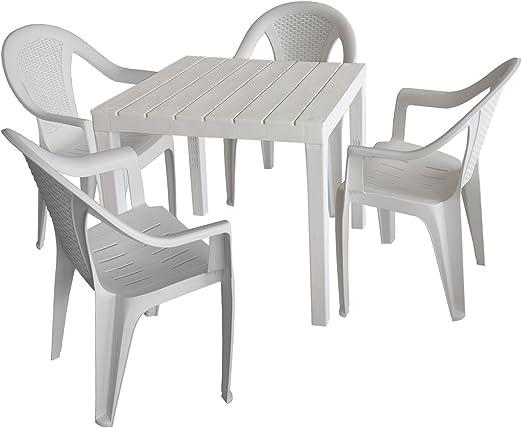 MultiStore Juego de muebles de jardín mesa de jardín, plástico, color blanco, 78 x 78 cm, aspecto de madera + 4 x Silla apilable, plástico, color blanco, aspecto de ratán: Amazon.es: Jardín