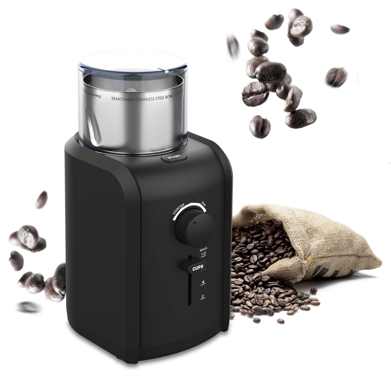 TTLIFE Electric Coffee Bean Grinder, Professional High Power motor with Grind Size, Cup Selection, Removable Stainless Steel Cup for easy cleaning, Cord Storage System, Herbs & Grains, Grinds Nuts, Black