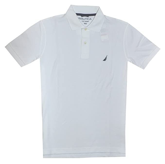 Nautica Men Slim Fit Logo Polo Pique T-Shirt (XS, White): Amazon ...