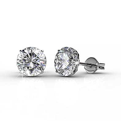 8e0c44a4891 Cate   Chloe Mallory 18k White Gold Plated Stud Solitaire Earrings with Swarovski  Crystals