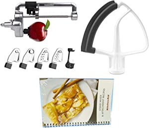 KitchenAid DRTVICE6 Combo Package Spiralizer KSM1APC Flex Edge Beater KFE5T Stand Mixer Attachment Recipe Book