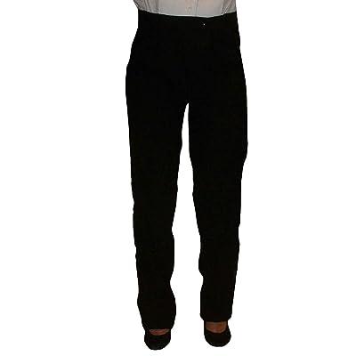 Womens Tuxedo Pants with Satin Stripe, Black, No Pleats, Adjustable Waist at Women's Clothing store