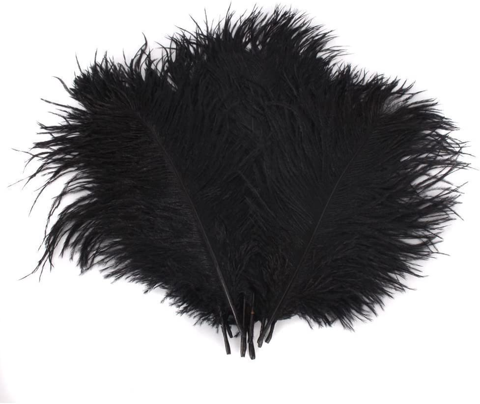 50pcs 10-15cm Natural Home Decor Ostrich Feathers for Home Wedding Xmas Party Decoration (Black)
