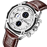 JEDIR Men Chronograph Quartz Wrist Watch Analog Dial with Date Window Soft Brown Leather Band