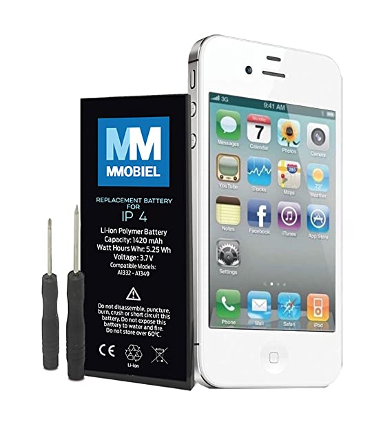 MMOBIEL Batería Compatible con iPhone 4 Li-Ion 3.7V 1420 mAh 5.25Wh, Incluye 2X Destornilladores y Manual