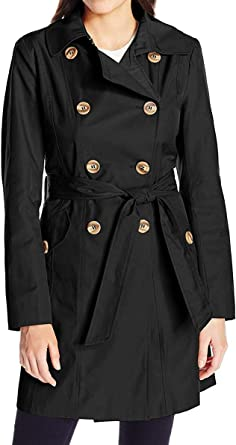 Ladies Womens Light Weight Foldaway Double Breasted Belted Rain Mac Jacket