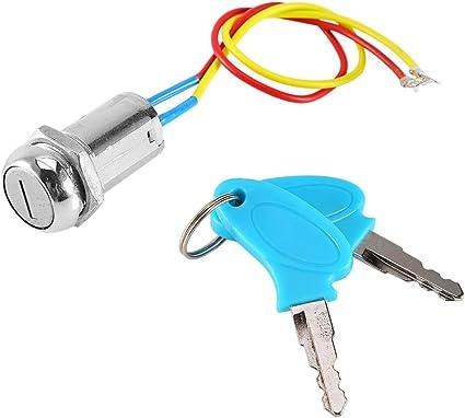Qiilu Zündschloss Motorrad 2 Draht Schlüssel Zündschloss Verriegelung Schlüssel Für Elektroroller Atv Moped Kart Auto